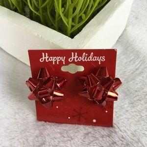 Christmas Red Bow Earrings Metal